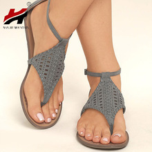 2018 Summer Women's Shoes Flat Comfort Hollowing Thong Sandals Size 35-43