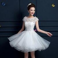 New 2015 White Short Wedding Dresses The Bride Sexy Lace Wedding Dress Bridal Gown White Vestido