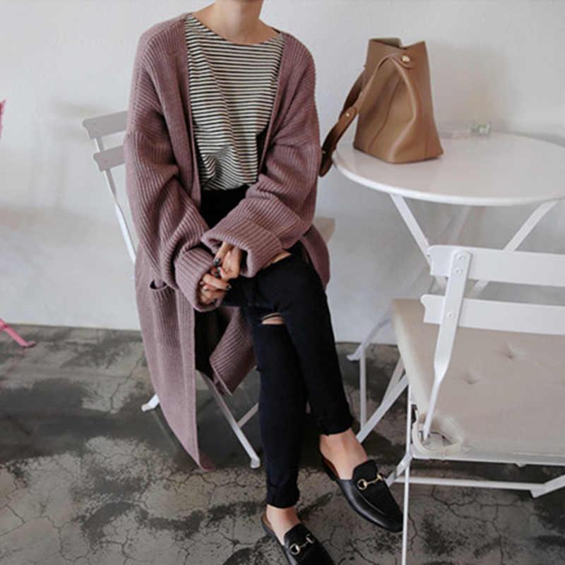 Корейский длинный кардиган Femme осень sueteres mujer de moda 2018 модный длинный трикотажный женский кардиган черный кардиган корейский свитер