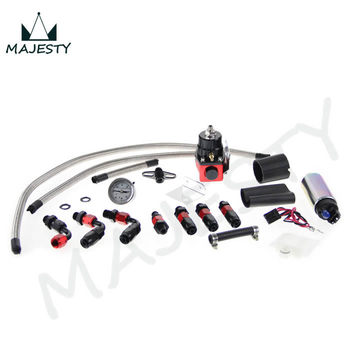 Adjustable Fuel Pressure Regulator&255 LPH fuel pump Kit FIT FOR DSM STI GTI EVO black and red