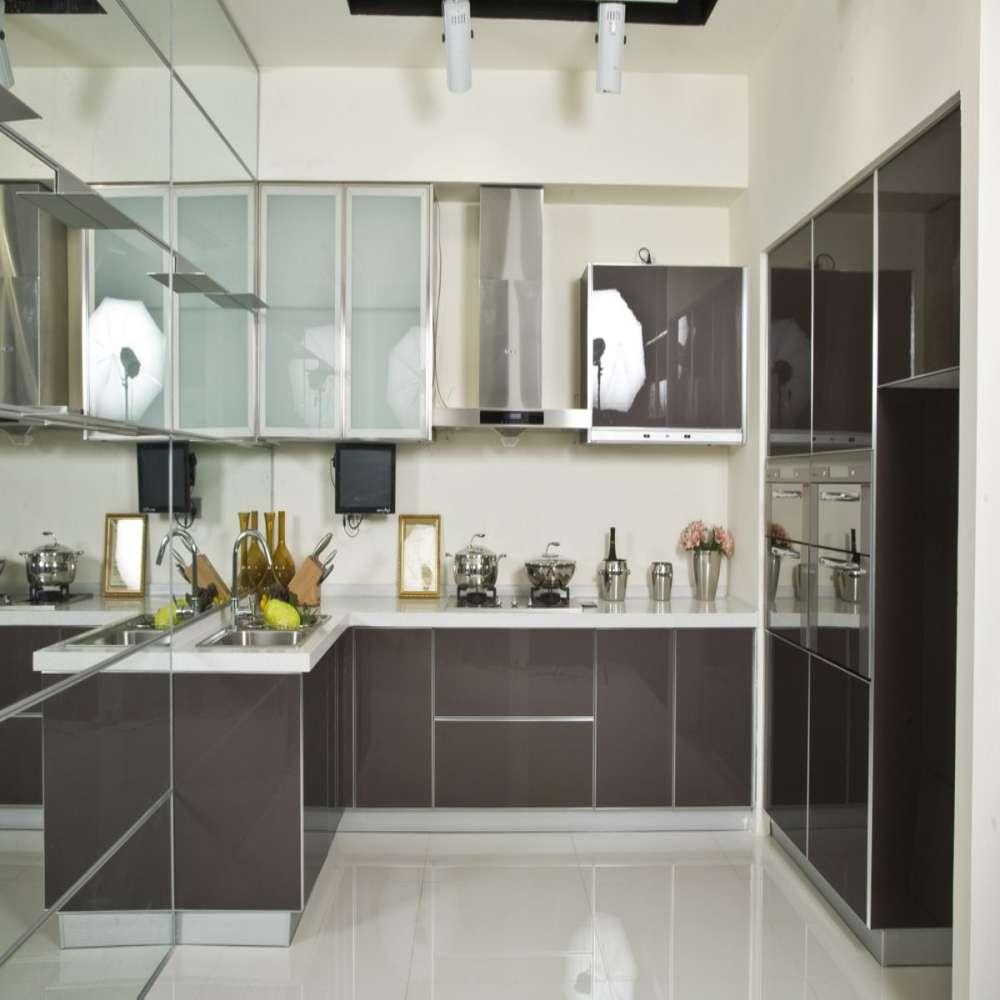 High Gloss Modern Cinza Piano Laca Cozinha Em Arm Rios De Cozinha De