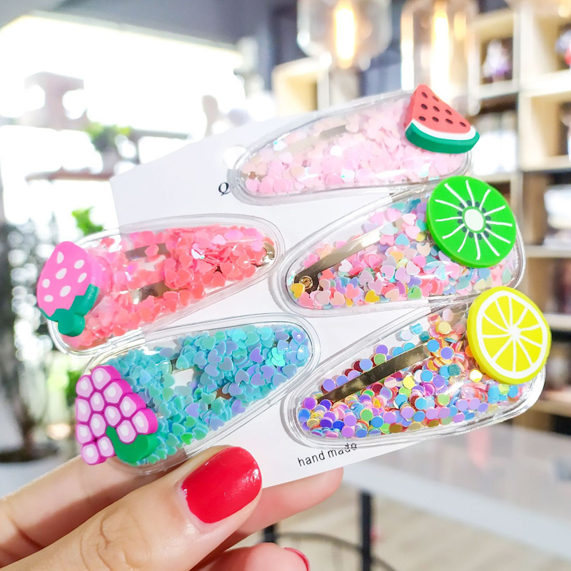 Fruit Hair Clips For Girls Kids New Transparent Hairpin Fashion Sweet Children Simple PVC BB Clips Ins Headband Hair Accessories