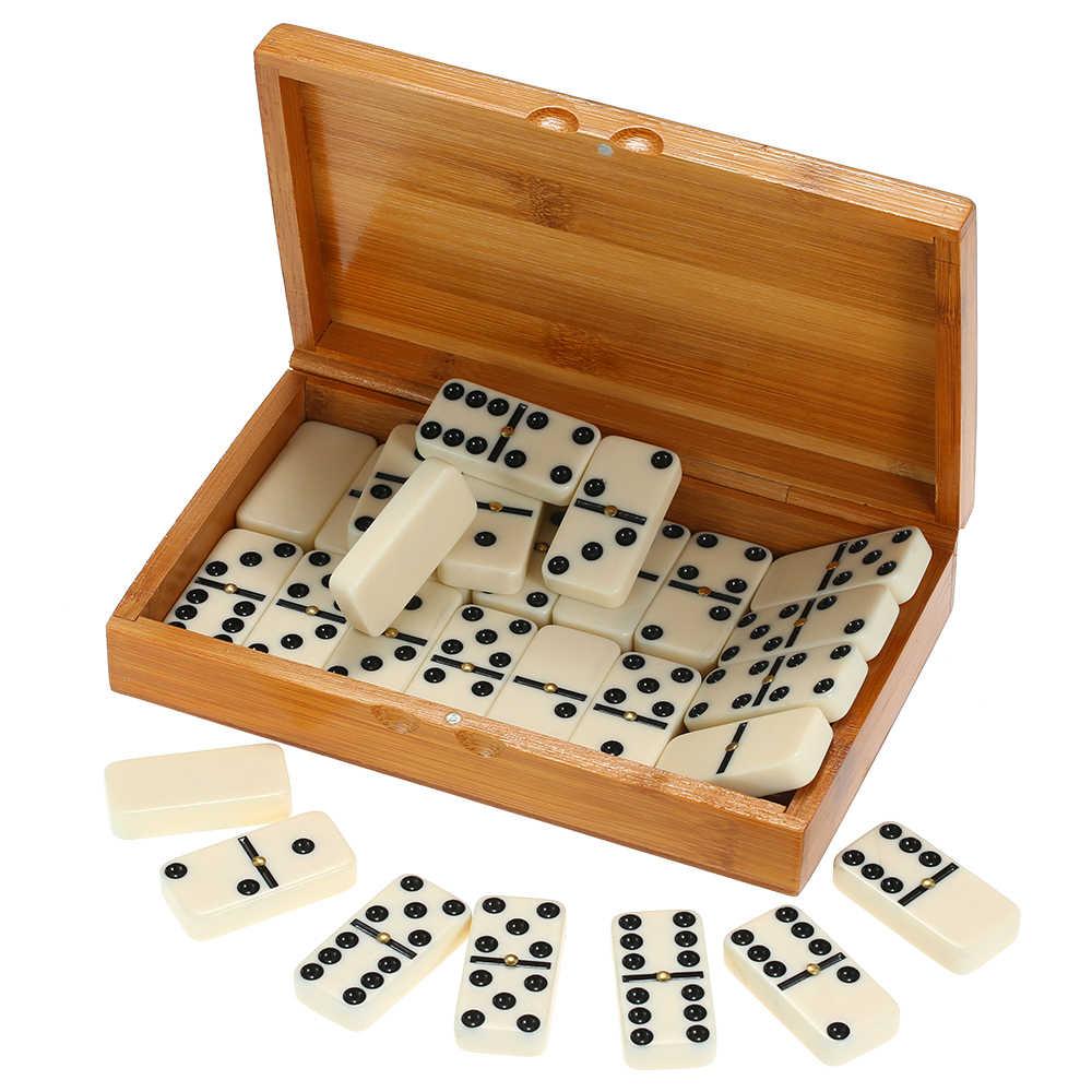 Rozrywki gra w szachy Double Six domino zestaw rekreacyjne podróży gry zabawki czarne kropki domino dla baw się dobrze