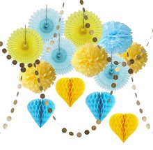Sunbeauty 5pcs Mixed 8  20cm Tissue paper pompoms pom balls Paper Fans For Wedding Decoration Party Supplier