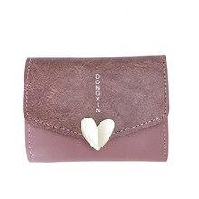 ФОТО 2018 japan style portomonee wallet female women pu  billetera mujer short slim heart lock women wallet cartera mujer sx0653