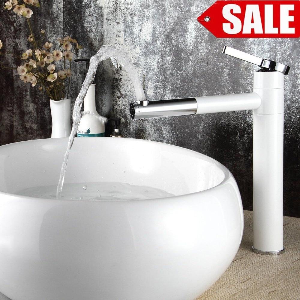 ФОТО High Quality White Single-handle basin Waterfall Brass Faucets Bathroom Faucet Sink Basin Mixer Tap LT-701B