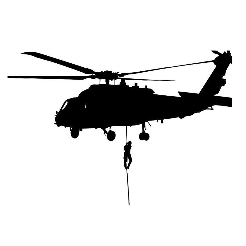 16.2cm*11.2cm Helicopter Air Force Military Vinyl Car Sticker Decor Black/Silver S3-6195