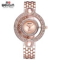 WEIQIN New Woman Rhinestone Crystal Watches Womens Ladies Beauty Bracelet Wristwatches Female Gold Dress Watch S