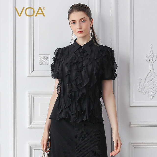 VOA Silk Blouse Black Ruffles Sexy Mesh Rococo Lolita Shirt Gothic Office Work Ladies Tops Summer Short Sleeve Kawaii Basic B790
