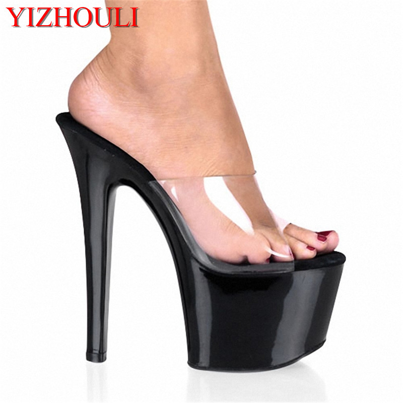 8a202fd3eac US $44.88 32% OFF|All Match Fashion Comfortable Black 7 Inch Stiletto With  Platform Shoes Clear Stripper Shoes Sexy 17CM High Heeled Shoes Red-in High  ...
