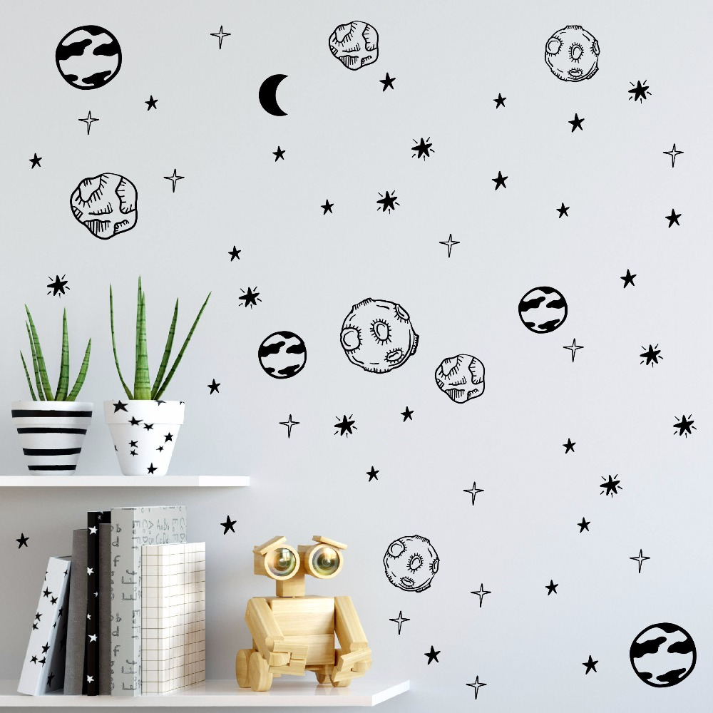 Planet Wall Sticker Kids Room Removable DIY Solar System Wall Decor Decals Astronomy Nursery Art Stickers Space Decoration