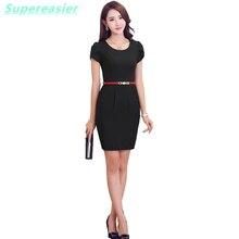 Women OL Lady Office Dress Short Butterfly Sleeve O-Neck Pencil Dress Work Wear Casual Vestidos Plus Size 2016 Summer Dress