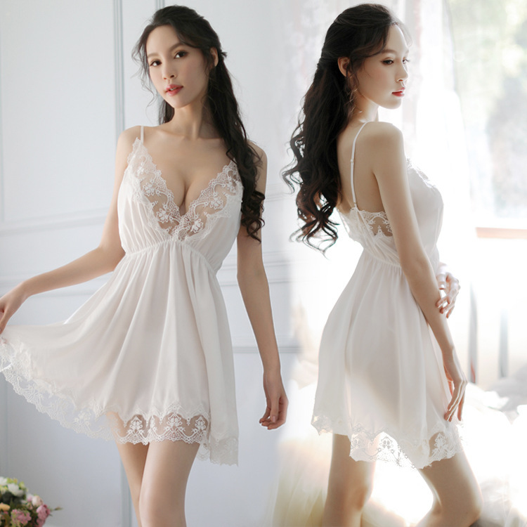 2019   Nightgowns   &   Sleepshirt   Silk Sleepwear Women Night Dress Ladie Satin Sexy Lingerie Nightshirts Sleep Lounge
