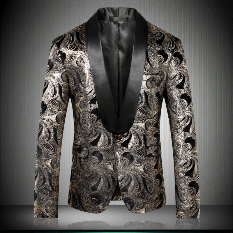 Chaqueta de manga larga clásica para hombre de talla grande 5XL, chaqueta de moda para negocios, boda, banquete, chaqueta estampada para hombre KTV