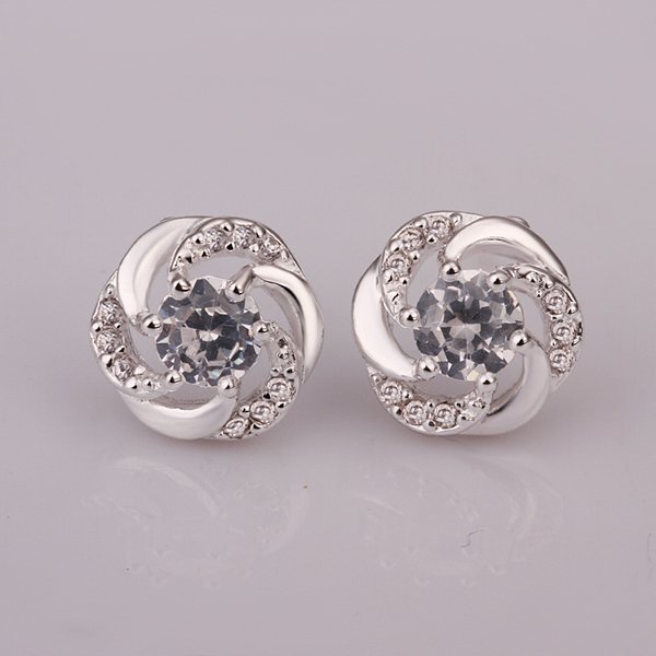 925 Sterling Silver Full Crystal Stone Spiral Round W White Earring Stud For