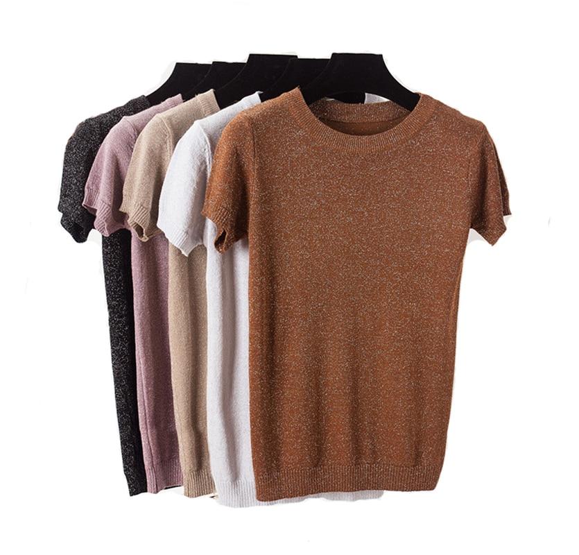 2018 Summer Knitted T Shirt Top Tees Short Sleeve Solid O-neck T-Shirts Fashion Shining Slim Knitwear T-shirt
