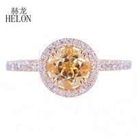 HELON Fine Diamonds Halo Engagement Wedding Ring Solid 14k Yellow Gold 6.5mm Round Genuine Citrine & Diamonds Ring Jewelry Women