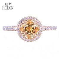 Helon мелкими бриллиантами Halo Обручение обручальное кольцо твердого 14 К желтое золото 6.5 мм круглый подлинной цитрин и бриллиантами кольцо юв