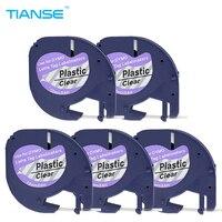 TIANSE Label Maker 5 Pieces/lot Compatible Letratag Plastic Label Tape 12mm Black On Clear Letratag Tape For Dymo Label Printer