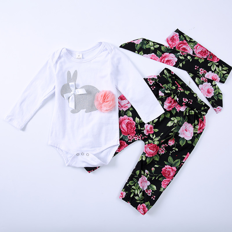 Baby clothing suits Outfit 2018 Autumn long-sleeved Cartoon rabbit bodysuit+floral pants baby girls clothes set