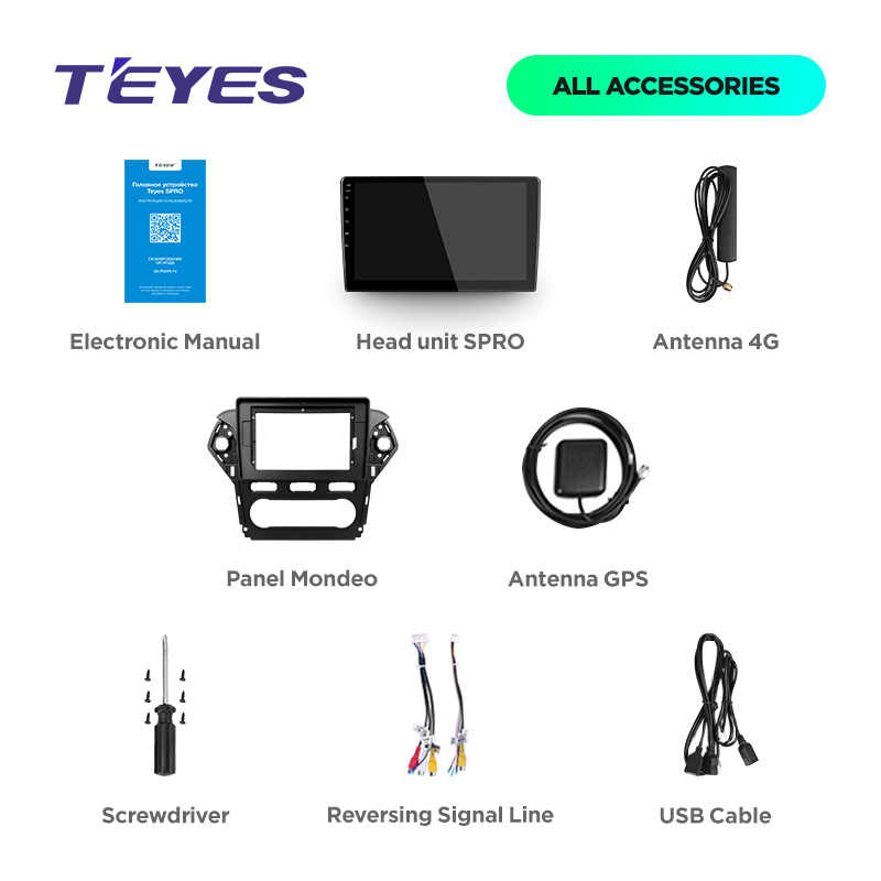 TEYES SPRO لفورد مونديو 4 2010 2011 2012 2013 2014 سيارة راديو الوسائط المتعددة مشغل فيديو والملاحة GPS الروبوت 8.1 لا 2din 2 الدين