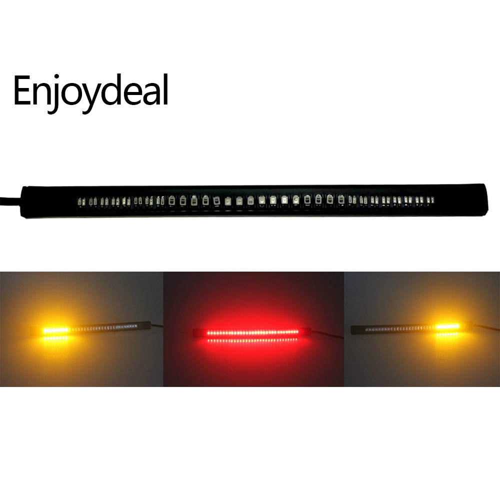 best sneakers 86082 e0c38 US $1.67 45% OFF|Flexible 48LED Motorcycle Light Strip Tail Brake Stop  License Plate Lamp Red and Amber Led Color Turn Signal Light Universal-in  LED ...