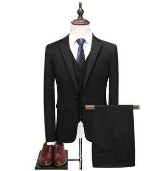 2019 New Style Blue Wedding Suits Men Casual Blazer Men\'s Business Party Good Quality Prom Suits Men 3 Pieces Jacket Pants Vest
