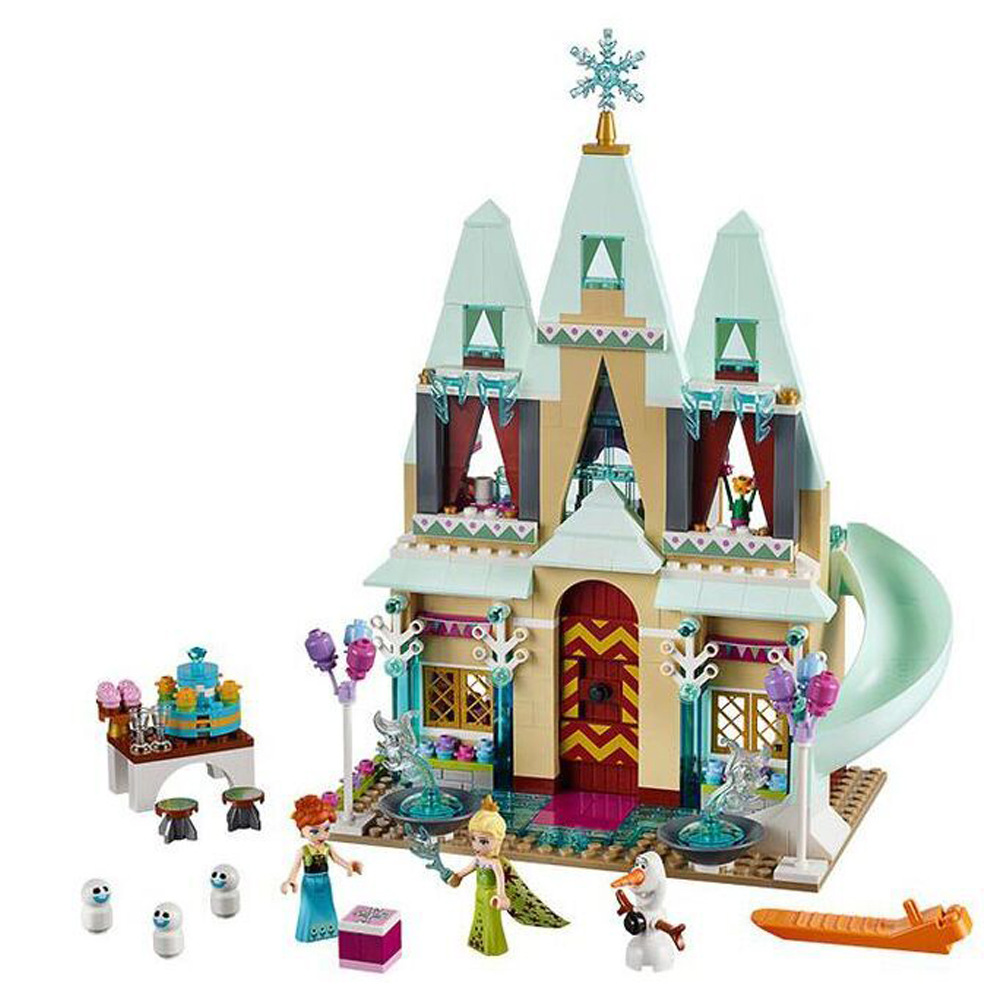 JG303 Building Blocks Arendelle Castle Princess Anna Elsa Buildable Snow Queen Figures Compatible with Legoe Blocks 301 princess arendelle castle building blocks princess elsa anna olaf bricks toy friends compatible legoes gift kid castle set