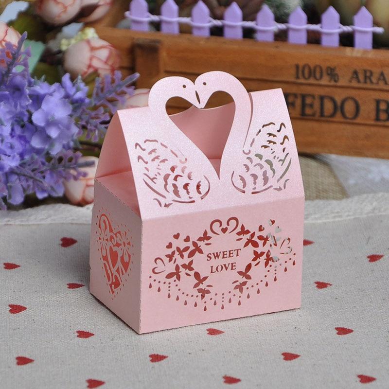 Swan Wedding Gift Return: TH 20pcs Swan Wedding Favors Candy Box Sugar Case Cookie