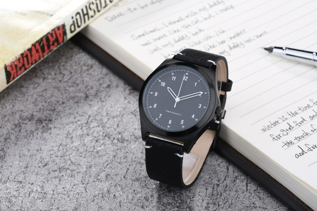 Leather Watches Full Black with White Number Japan Quartz Movement