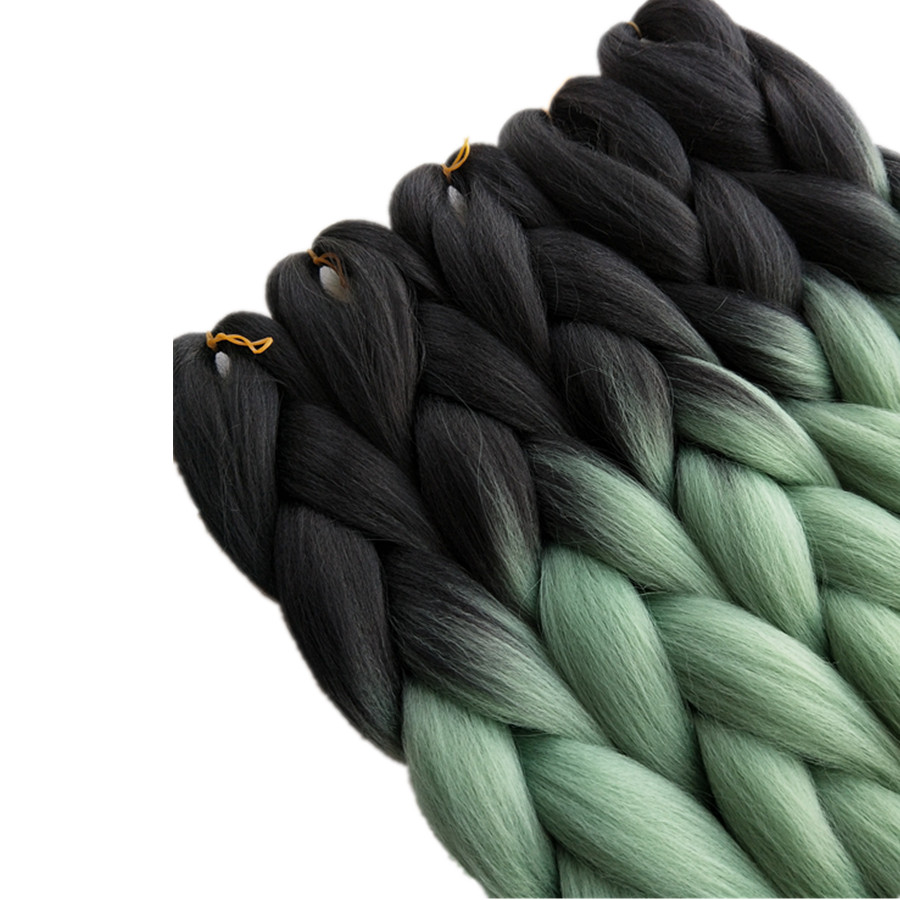 Hair Braids Pervado Hair High Temperature Fiber Jumbo Braids Bulk Hair 24 100g Pea Green Ombre Synthetic Crochet Braiding Hair Extensions