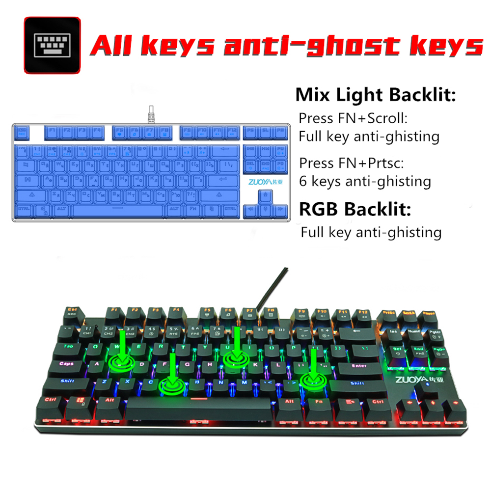Gaming Mechanical keyboard usb wired Backlit Anti-ghosting 87 key RGB Russian Blue Red Switch keyboard for computer gamer laptop