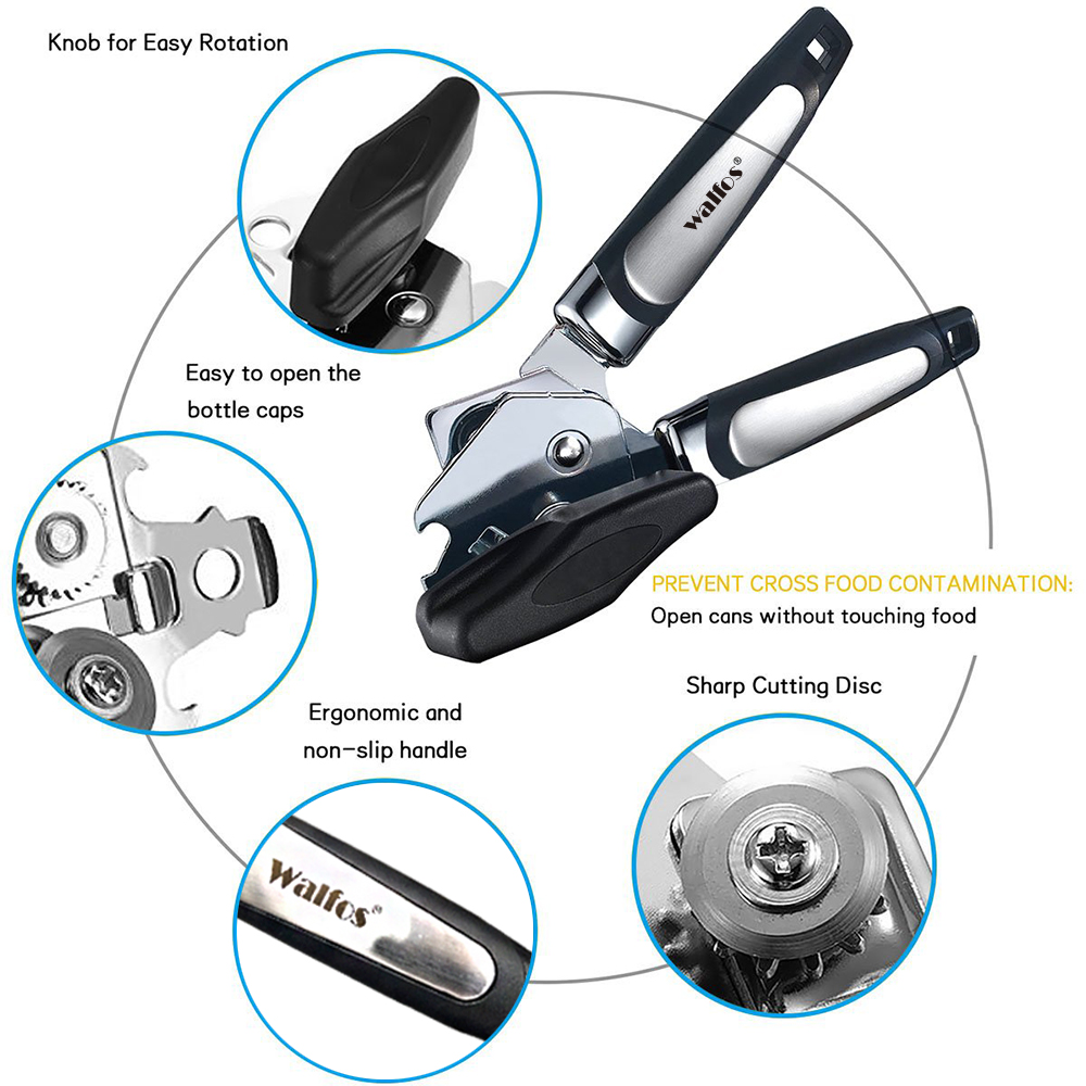 WALFOS High Quality Stainless Steel Cans Opener Professional Ergonomic Manual Can Opener Side Cut Manual Can Opener