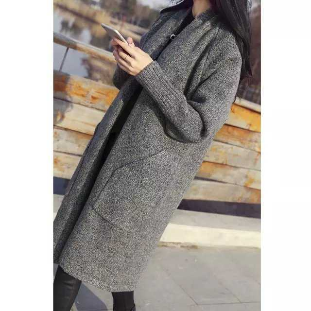 Aliexpress.com : Buy 2015 new ladies grey long loose knit Cardigan ...