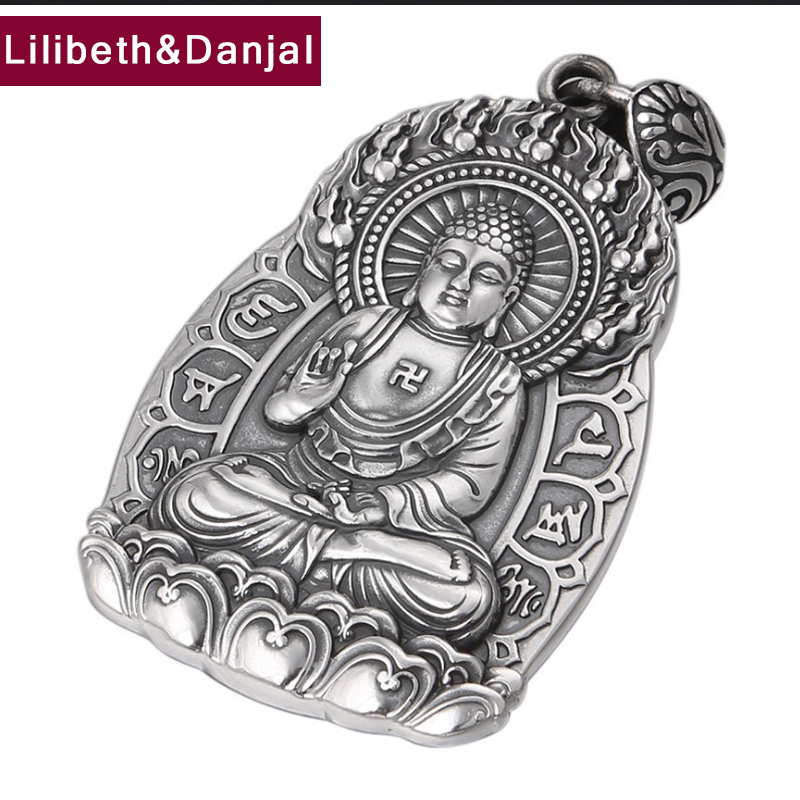 Buddha Pendant 100 Real S990 Sterling Silver Jewelry Men Women Mantra Lucky Brave Troops Necklace Pendant