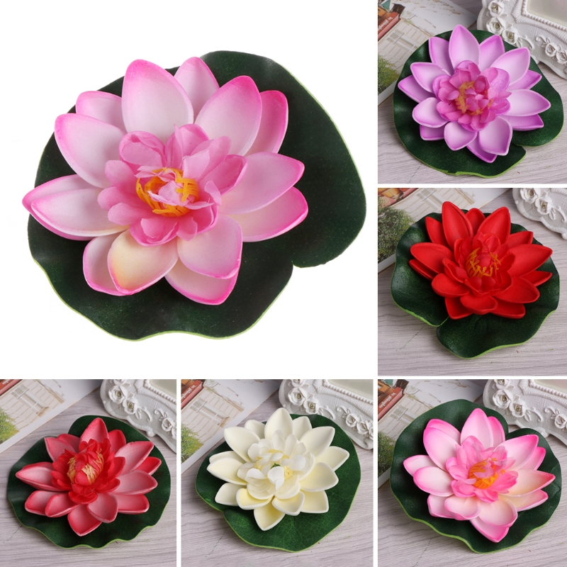 Artificial Fake Floating Flowers Lotus Water Lily Plants Garden Tank Pond Decor