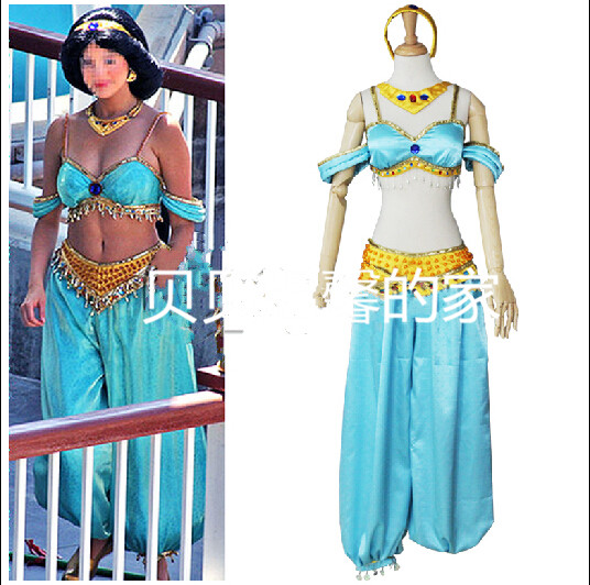 Aladdin And The Magic Lamp  Jasmine Princess Cosplay Costume Customize Any Size