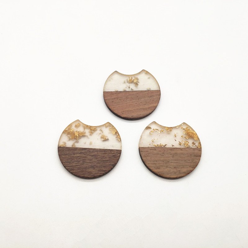 Image 3 - New arrival!37x35mm 30pcs round shape wood with Resin charm for stud earrings,earrings accessories,Earring parts,jewelry DIY-in Jewelry Findings & Components from Jewelry & Accessories