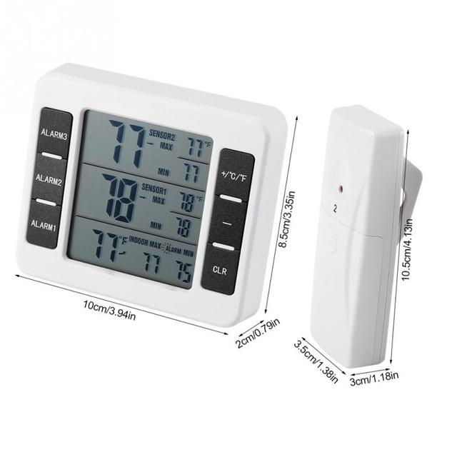 Wireless Digital Audible Alarm Refrigerator Thermometer with 2PCS Sensor Min/Max Display Indoor Outdoor Thermometer