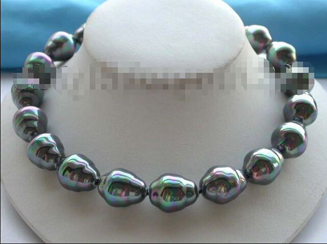 Free shipping >>>>>>18 Luster Natural 17x20mm Black Shell Pearl necklace!