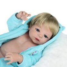 """Søt 22 """"fullfargede silikonfødte dukker guttpopp gjenfødte babyer 55cm blond hår magnetisk munn baddukker barn gave bonecas"""