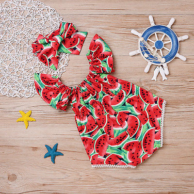 Watermelon Ruffle Cotton Rompers Outfit 4