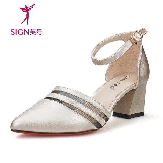 fd0601bbd11 Nuevas sandalias de tacón alto de las mujeres 2016 summer cerradas dedo del  pie acentuado gruesas