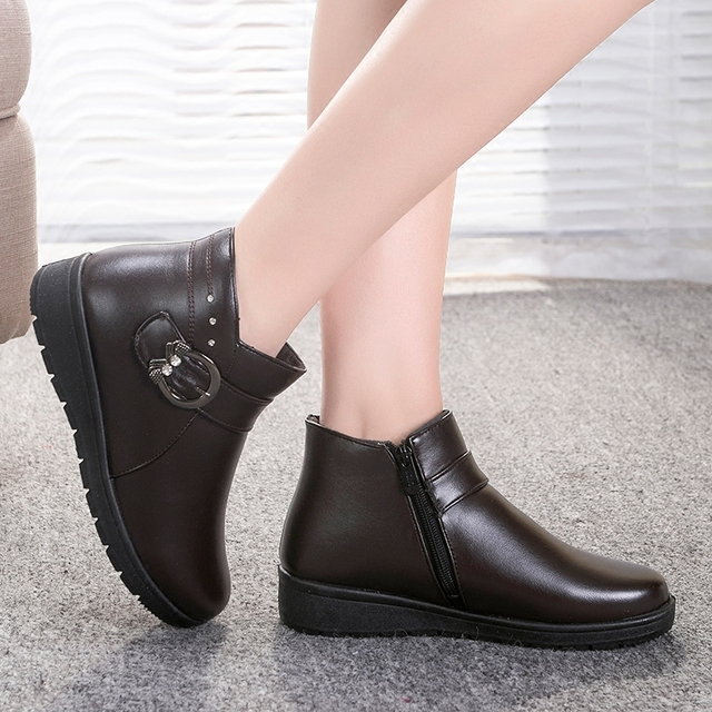 New Women's Flats Shoes Woman Oxford Winnter Plush Keep Warm PU Polyurethane Casual Female Buckle Strap Round Toe Sapatos TBM03