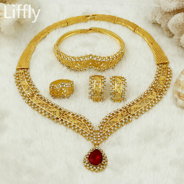 2017 New Fashion Gold Red Crystal Jewelry Sets Indian Jewlelry Necklace Ring Women Bridal Wedding Accessories
