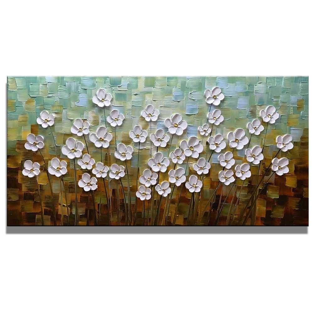 100% dipinto A Mano 3D Dipinti Su Tela Pronta per essere appesa Bianco Margherita Fiore Pitture A Olio Astratta di Paesaggio Opere di Arte Della Parete