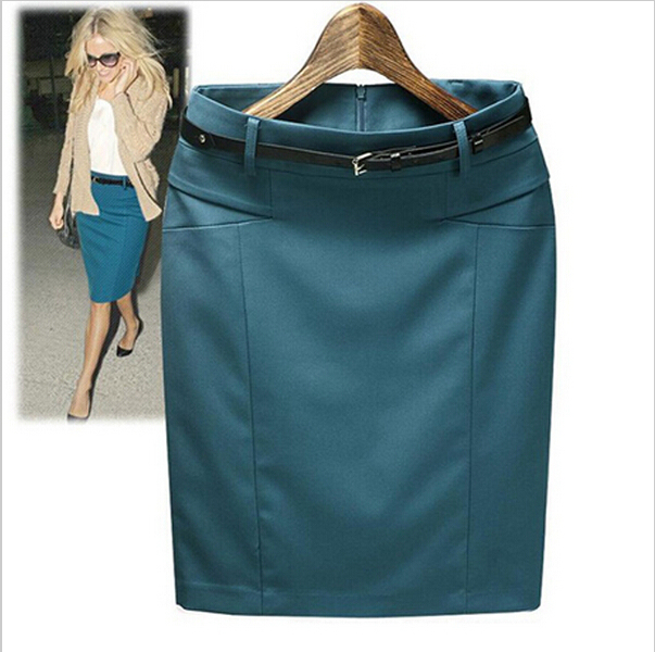 Size S-XXXL 2016 spring summer High waist Slim Straight knee-length bust skirt cotton pencil skirts suit women's casual skirts