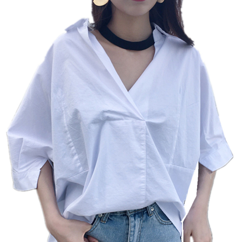 LOSSKY Autumn Summer White Blouse Shirt Casual Loose Sexy Batwing Sleeve V Neck Pullover Women Elegant Office Ladies Shirts Tops