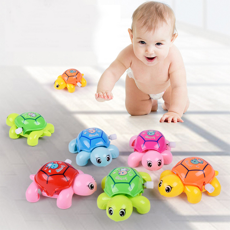 1Pcs Cartoon Baby Turtle Animal Clockwork Toys Tortoise Infant Crawling Wind Up Toy Educational Kids Classic Toy for Boys Girls button