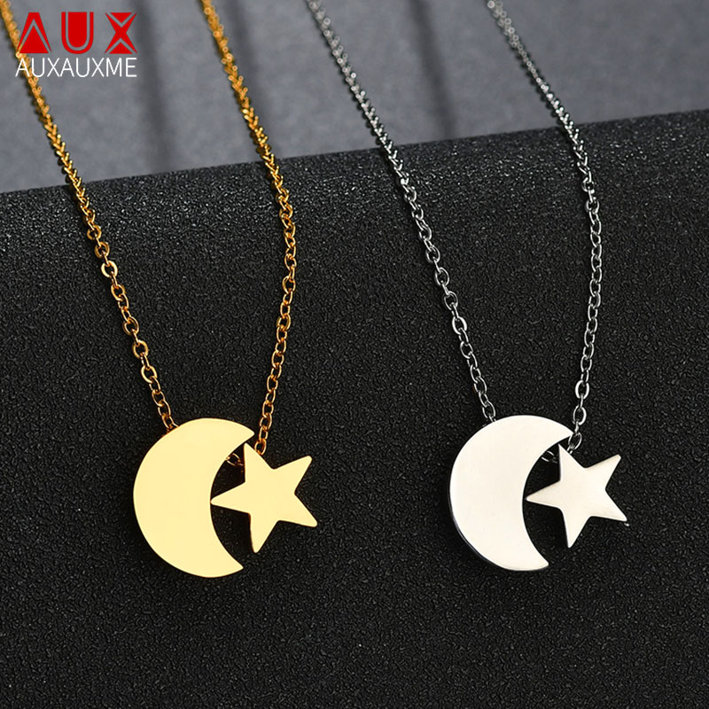 Necklaces & Pendants Auxauxme Charm Star Moon Necklace Stainless Steel Religious Jewelry Arabic Muhammad Islamic Choker Necklace For Women